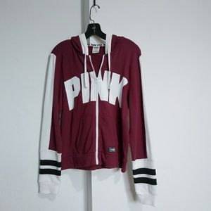 Pink zip up sweater size M